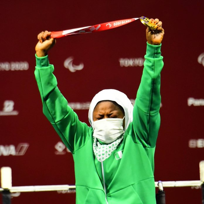 Latifat Tijani won Nigeria's first medal at the 2020 Paralympics  (Twitter/Powerlifting)
